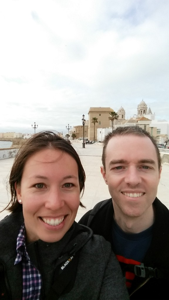 In front of the old town of Cadiz.