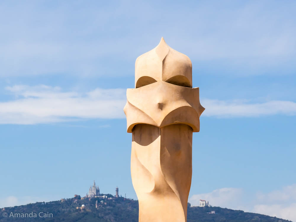 One of the alien faces from Gaudí's La Pedrera in Barcelona.