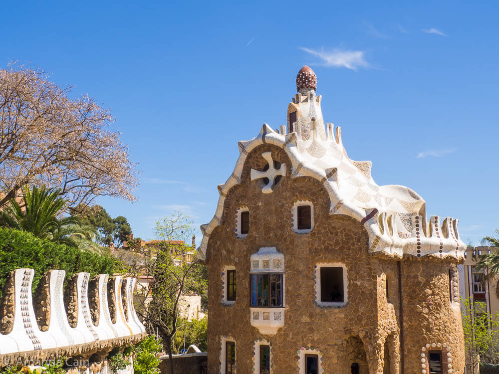 "One of the famous ""gingerbread houses"" in Park Guell, Barcelona."
