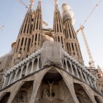 The Passion Facade of the Sagrada Familia in Barcelona. The Sagrada Familia has been under construction for 135 years.