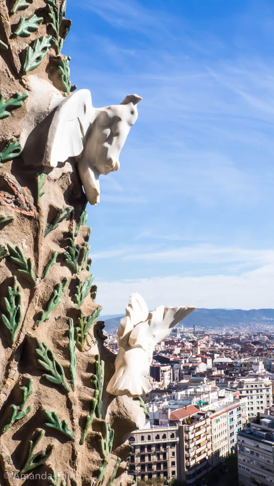 Doves on the Sagrada Familia overlooking Barcelona.