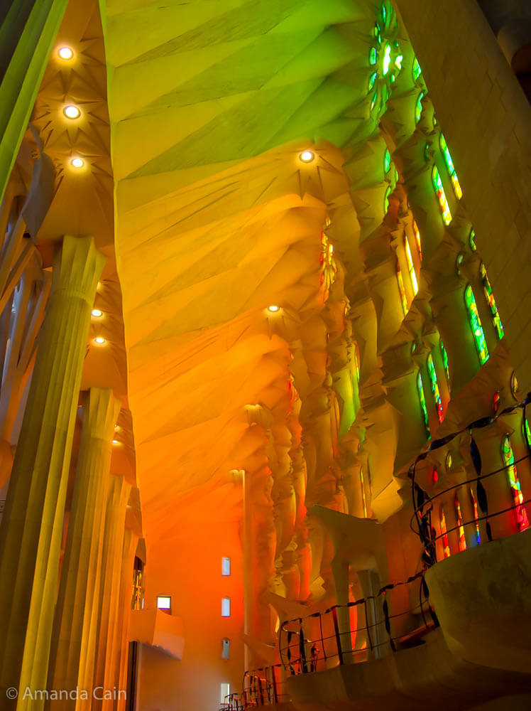 A rainbow of colours from the stained glass windows in the Sagrada Familia.
