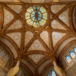 A beautifully decorated roof inside Barcelona's Sant Pau Hospital.