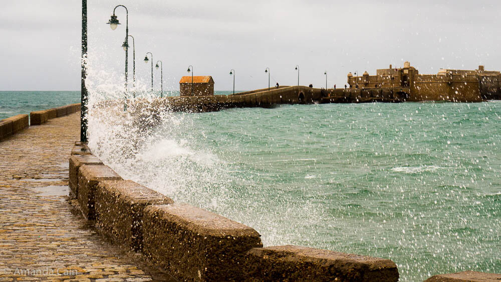 The fortress of San Sebastian in Cadiz on a stormy winter's day.