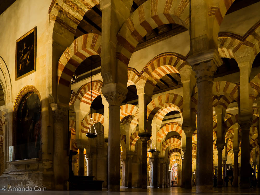 The never-ending horseshoe arches in the Mezquita of Córdoba.