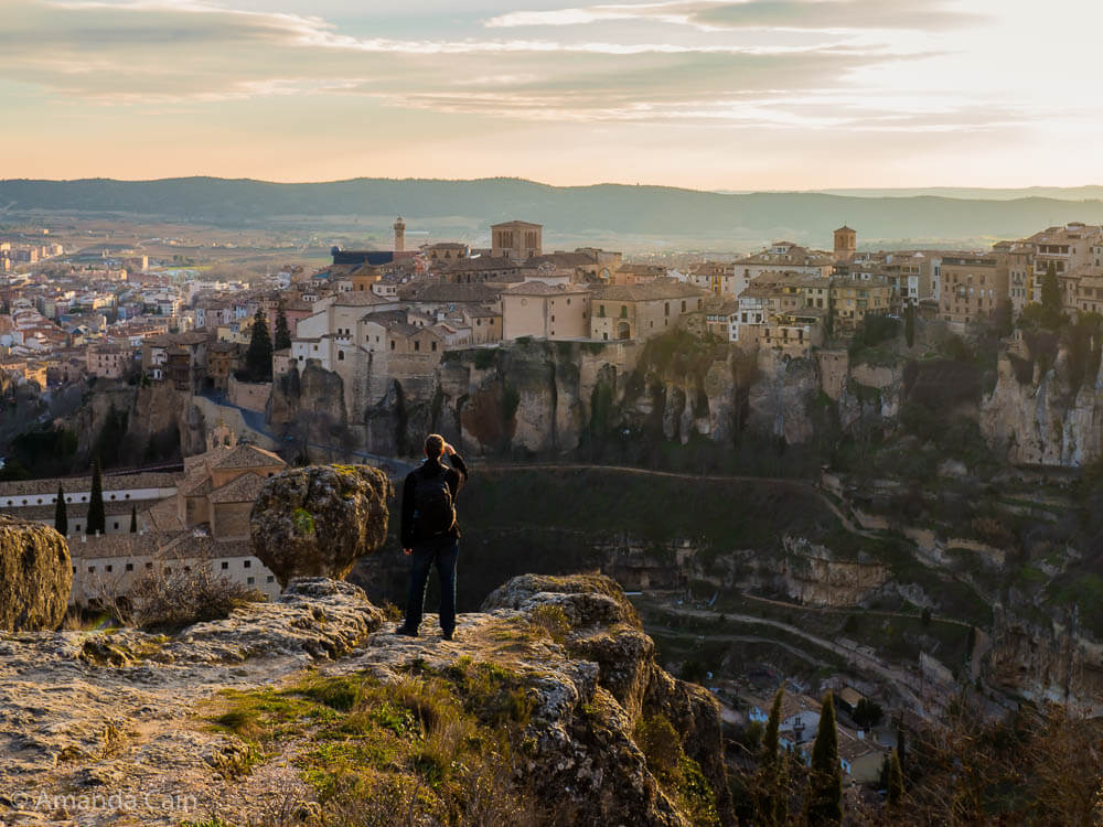 "The view over Cuenca, famous for its ""Hanging Houses"" built on the sides of cliffs."