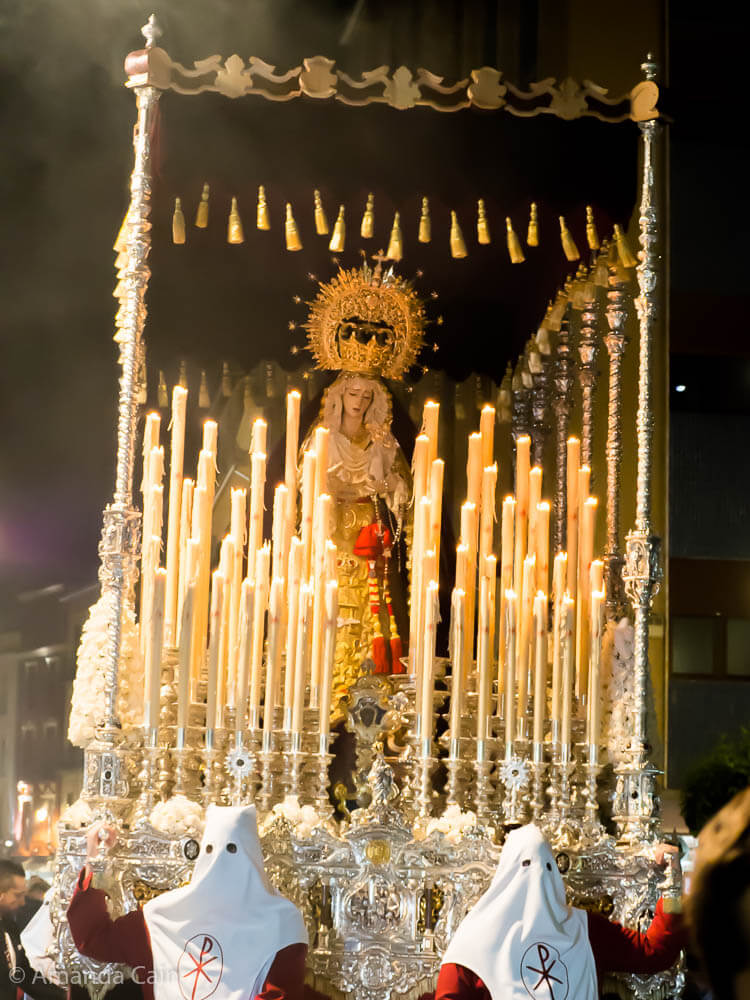 One of the pasos carrying the holy image, paraded through the streets of Granada. Each paso weighs 2 tonnes and is carried on the shoulders of 40 strong men.