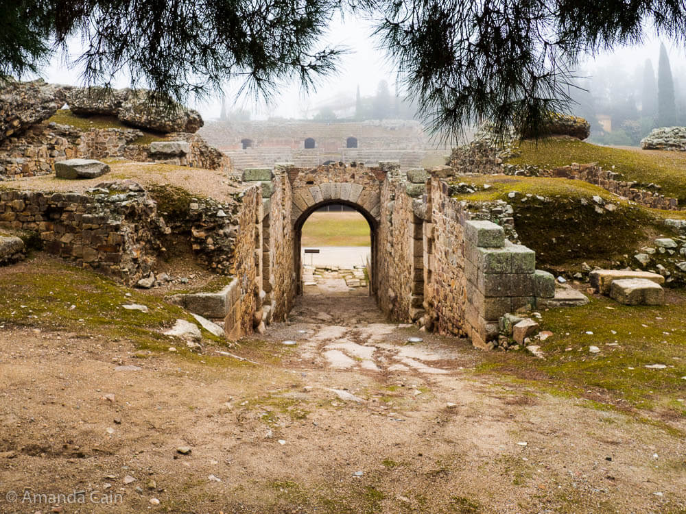 The entrance to the Ancient Roman amphitheatre of Mérida.