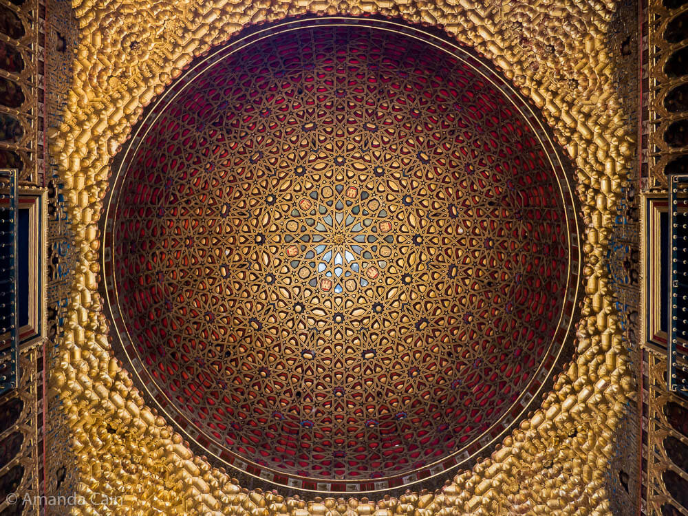 The incredible golden domed ceiling in the Alcázar of Seville.