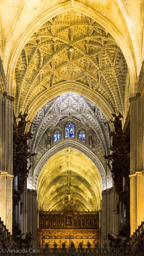 Looking down the nave of Seville Cathedral.