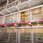 A picture showing the 3 levels of prison cells in Alcatraz.