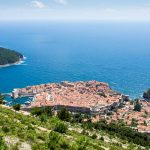 The red-roofed walled city of Dubrovnik in the sparkling blue Adriatic Sea.