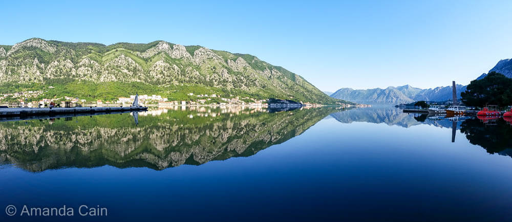 The Bay of Kotor on a perfectly still morning.