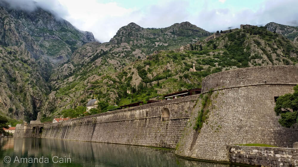 The imposing walls protecting the old town of Kotor.