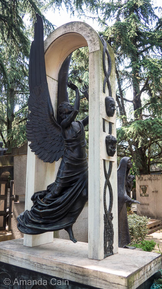 Milan's monumental cemetery is filled with work-of-art tombs like this one.