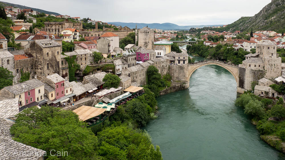 The old town and bridge of Mostar, rebuilt and restored after the civil war of the 90's.