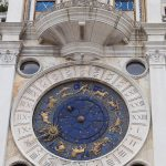 The famous Torre dell'Orologio of Venice. The clocktower here shows the signs of the zodiac, and phases of the moon as well as the time of day.