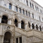 The grand entrance to the Doge's Palace in Venice.