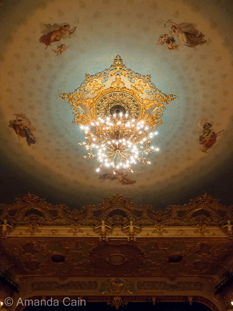 The grand ceiling of Venice's La Fenice opera house.