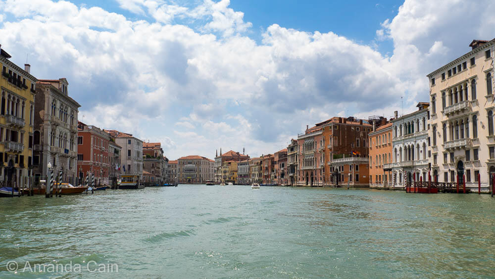 View from the water of Venice's Grand Canal.