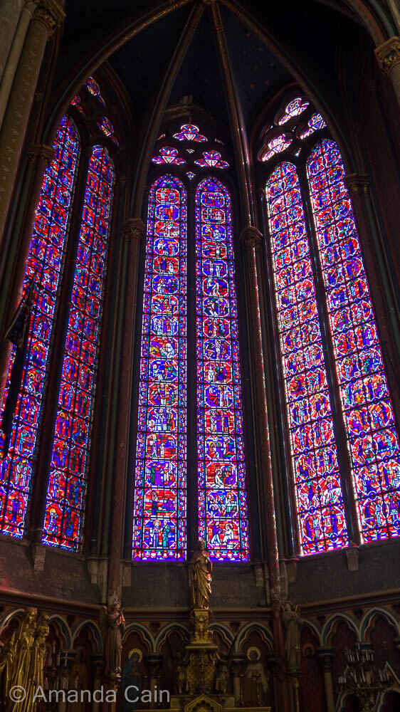 Impressive stained glass windows inside Amiens Cathedral.