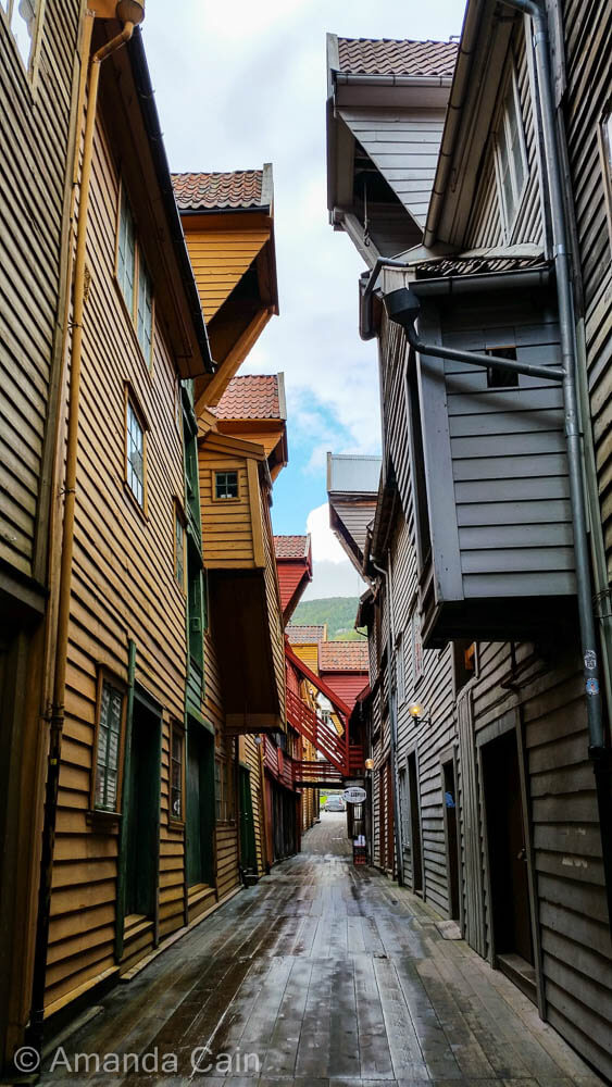Colourful wooden houses in the old town of Bryggen.
