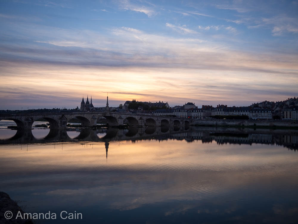 Sunset over Blois on the Loire River.