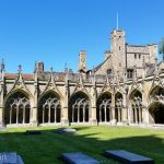 The Gothic cloister of Canterbury Cathedral.