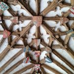 English coats-of-arms decorating the ceiling in Canterbury Cathedral.