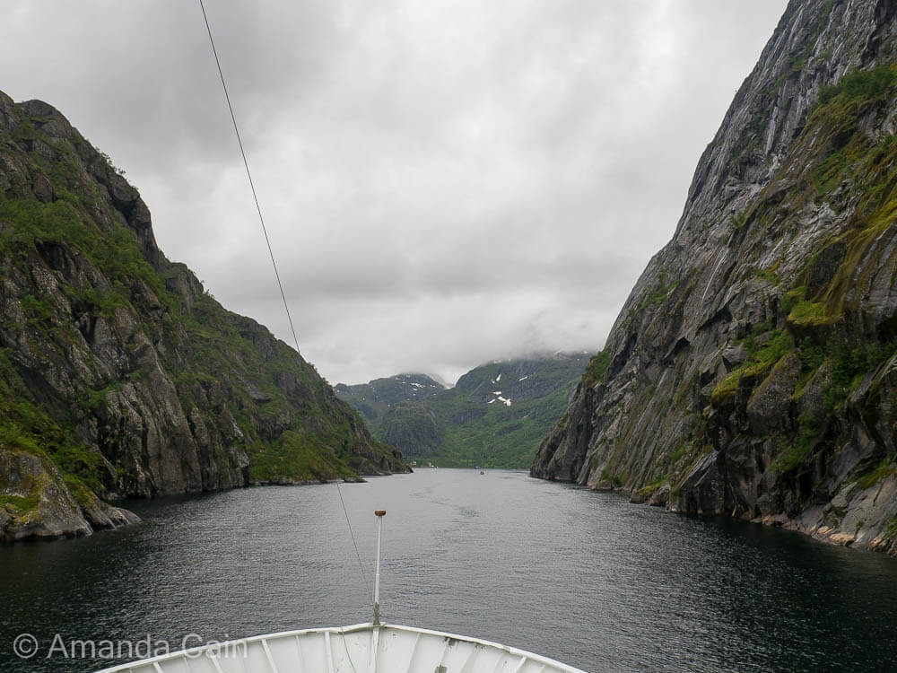 Cruising into the narrow Trollfjord. At the narrowest point it feels like you could almost touch the cliffs either side of the ship.