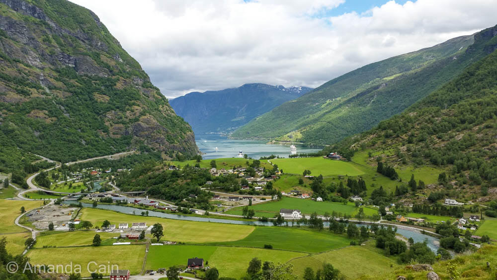 The small town of Flam at the end of the Aurlandsfjord.