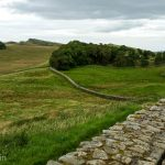 Hadrian's Wall running through the northern English countryside.