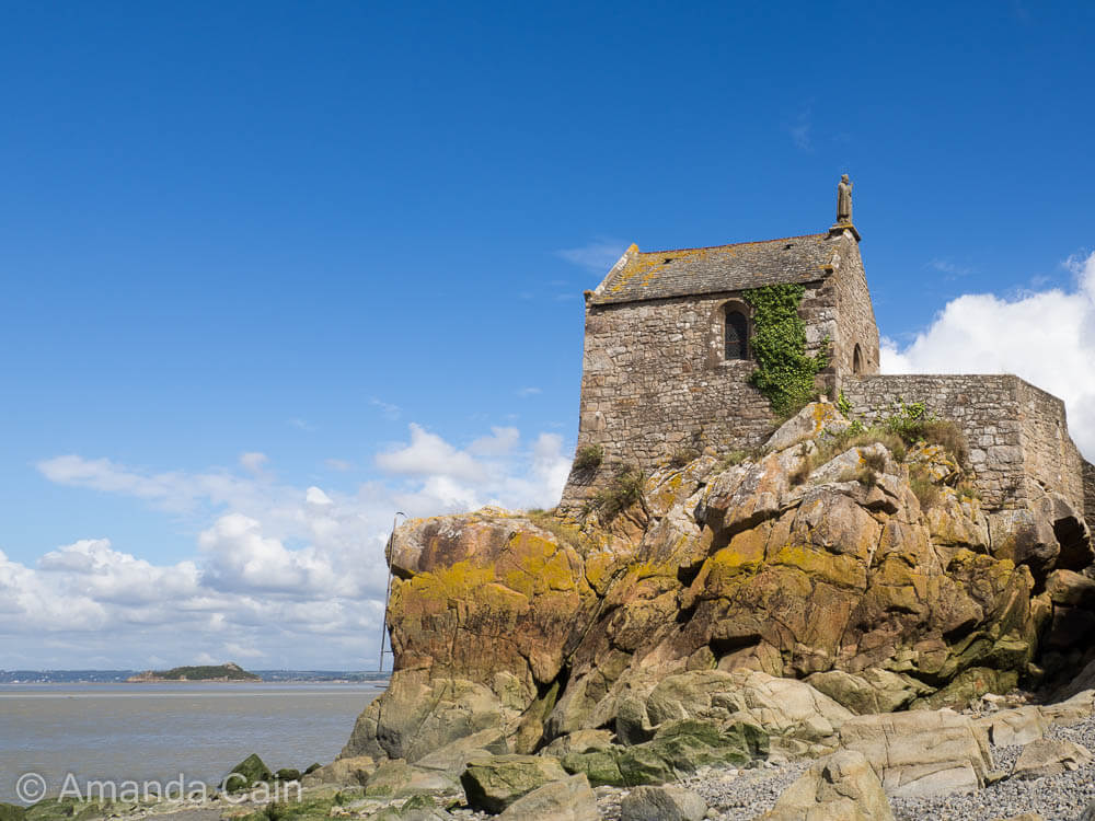 A chapel of Mont Saint-Michel that can only be reached by foot at low tide.