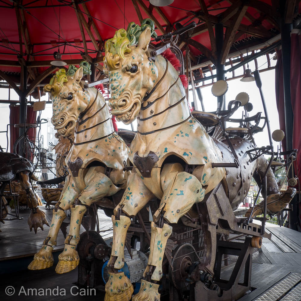 Hippocampi (sea-horses) in the carousel of Les Machines de l'Ile.