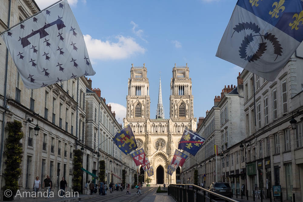 The Street of Joan of Arc leading up to the great cathedral of Orleans.