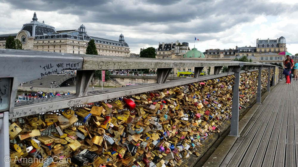 One of the many bridges in Paris that are covered with lovers' padlocks.