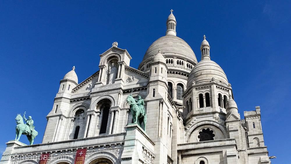 The gleaming white church of Sacre Coeur in Montmartre.