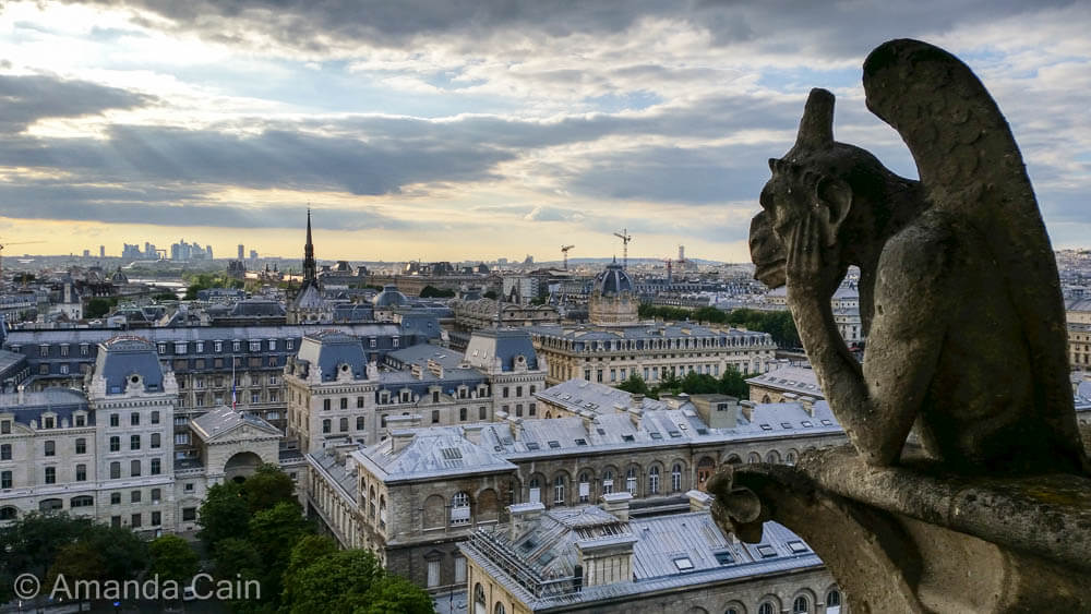A monster watching over Paris from Notre Dame Cathedral.