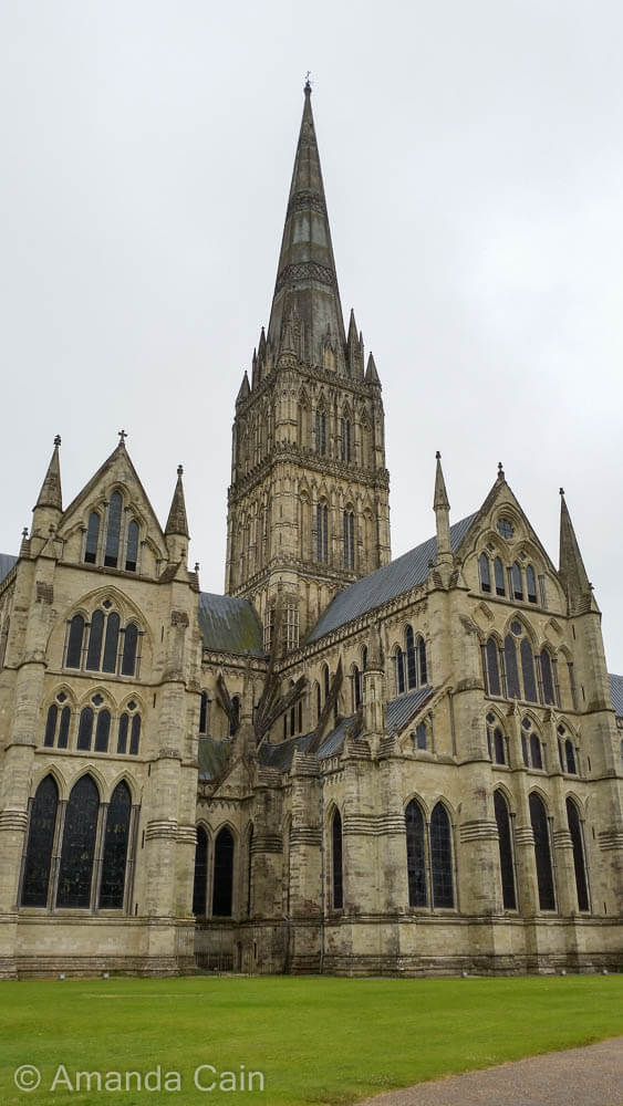 Salisbury Cathedral with its imposing tower, the tallest in the United Kingdom.
