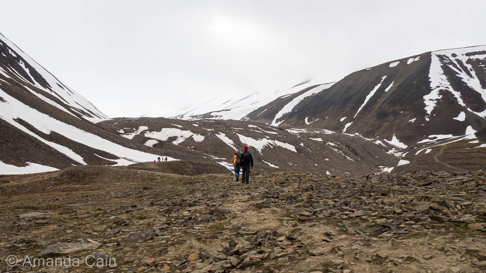 Hiking out to Longyearbyen Glacier. Every group that leaves the town must carry a gun with them in case of polar bears. It really hits home how much you are at the mercy of nature out here.