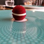 Beetroot macaron at The Fat Duck restaurant. One of MANY entrees in the multi-course meal.