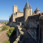 The imposing double wall fortifications of Carcasonne.