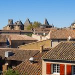 Terracotta rooftops inside the old town of Carcasonne.
