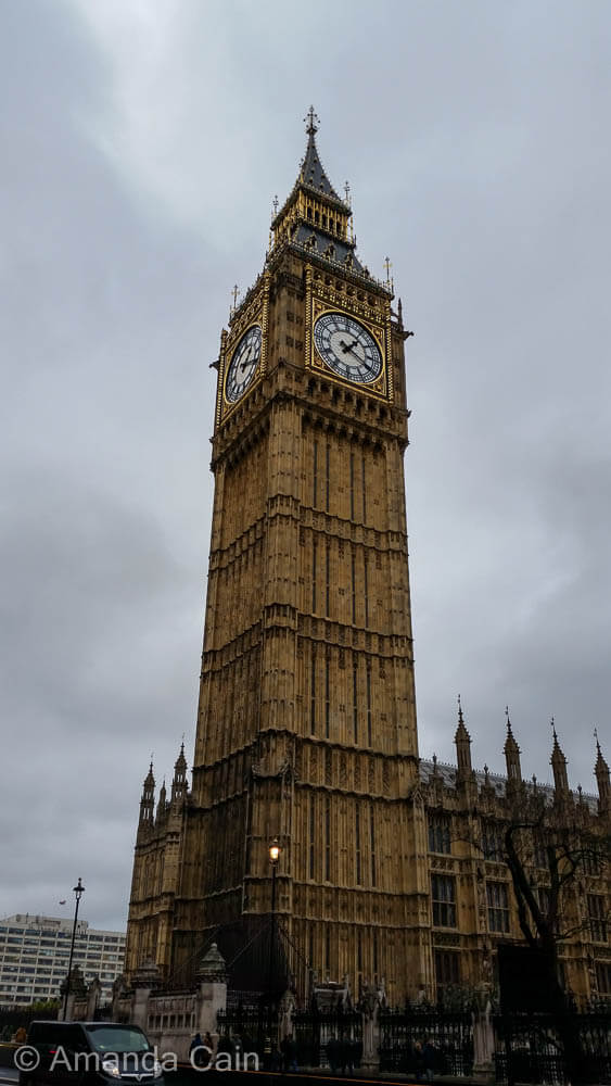 Big Ben under a typical gloomy autumn sky.