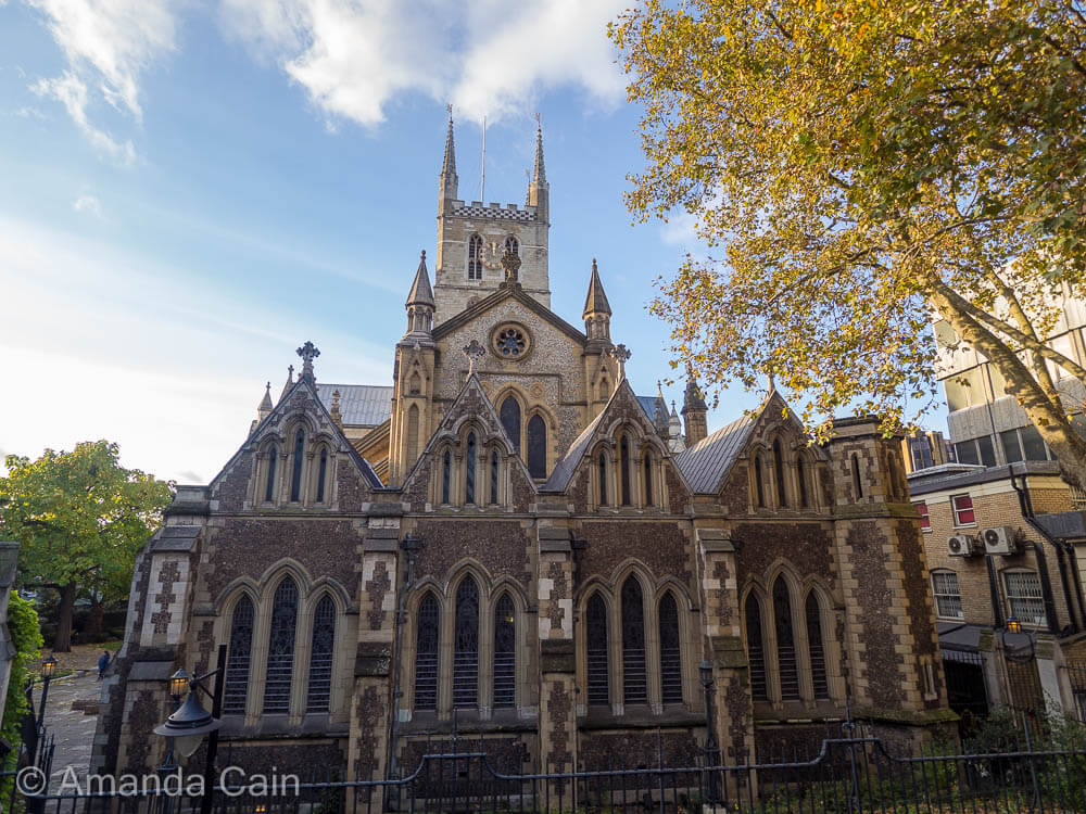 Southwark Cathedral on a sunny autumn afternoon.