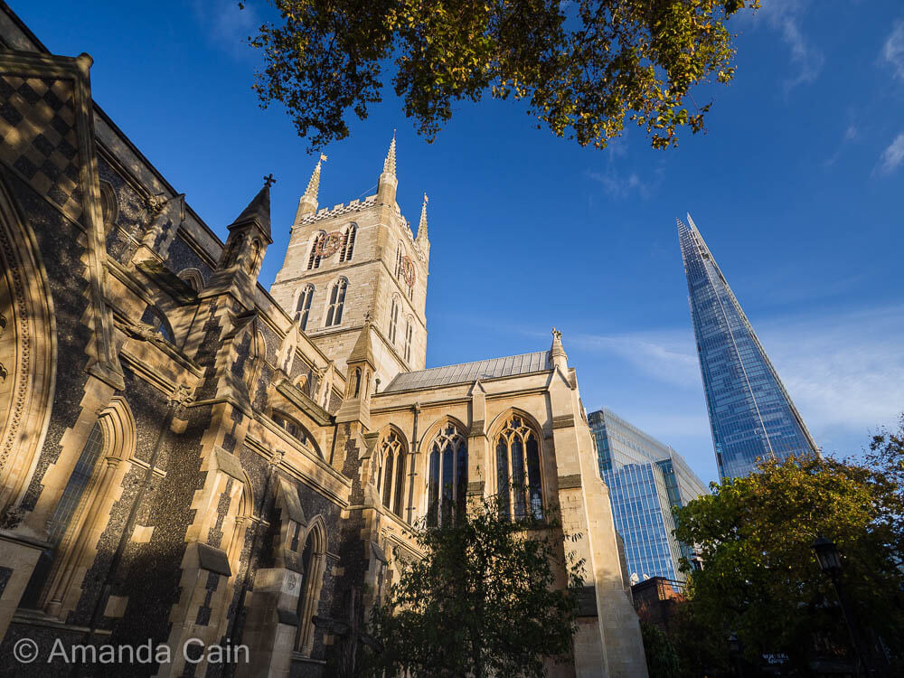 Old and new: Southwark Cathedral and The Shard reaching for the skies.