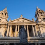 Queen Anne keeping watch over the entrance to St Paul's Cathedral.