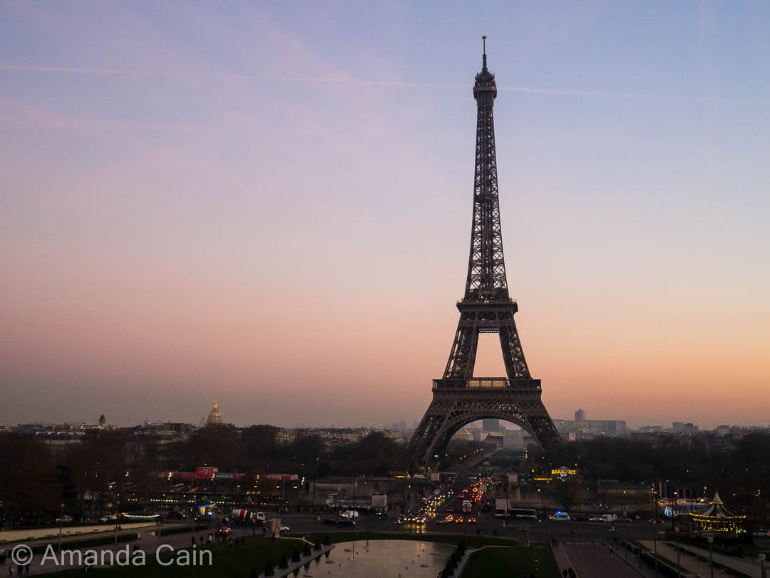 Dusk colours over Paris and the Eiffel Tower.