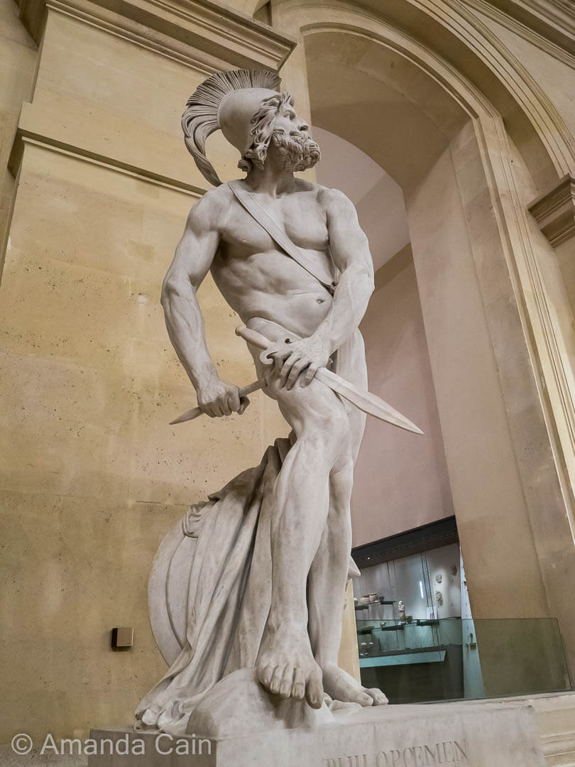Marble sculpture of the Greek general Philopoemen, in the Louvre Museum.