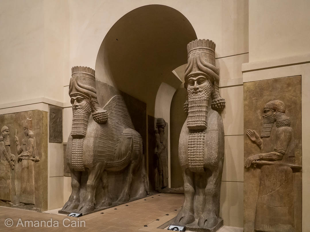 Winged bulls that used to guard the entrance to a palace in Ancient Mesopotamia, now in the Louvre Museum.